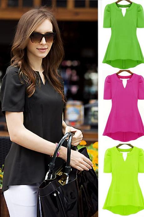 V-neckline Short Sleeves Slim Chiffon Top