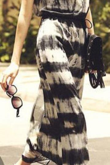 Great Two Piece Sleeveless Bohemian Black & White Tie-Dye Maxi Dress