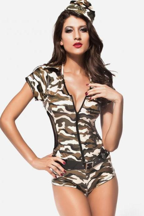 Triangle -sleeved leotard sexy policewoman costume army green