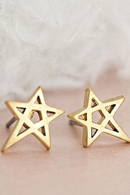 Gold Star Stud Earrings, Hollow Cutout Star, Astronomy Inspired