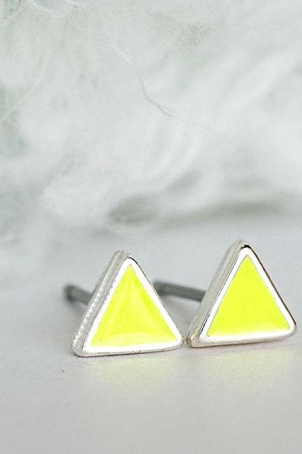 Tiny Triangle Lime Yellow Stud Earrings, Geometric Inspired