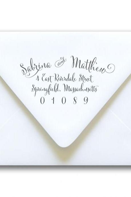 Return Address Stamp Wedding Calligraphy - Sabrina