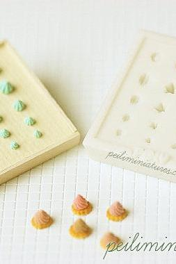Miniature Clay Mold Push Mold for Dollhouse Miniature Piped Cream, Meringues, Cake Decor Toppings
