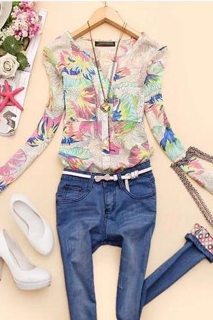Printed Slim V-neck long-sleeved chiffon shirt AZ6