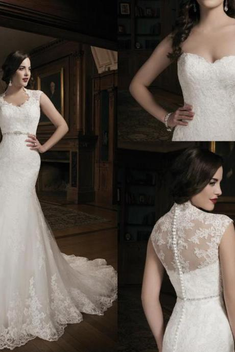 New Collection Mermaid Lace Ivory Wedding Dress Bridal Gown With Lace Jacket Sweet-heart Court Train Buttons