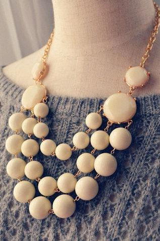 Multi Strand Bubble Necklace Statement Necklace Ivory White