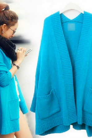 Blue Open Front Long Sleeve Ribbed Cardigan