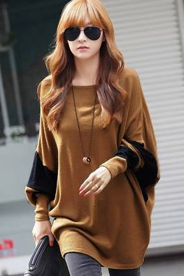 Coffee Blends Casual Loose Top FZ72489-28-Coffee (Color Coffee)