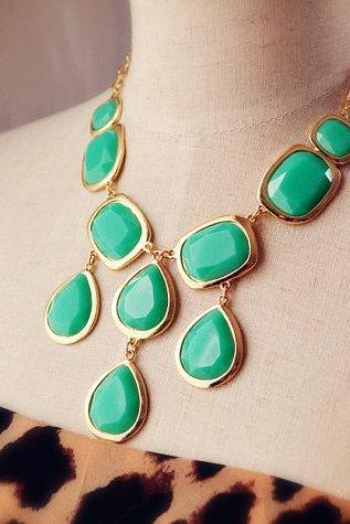 Turquoise Aqua Teardrop Necklace,bid neckalce,bubble neckalce,statement necklace,