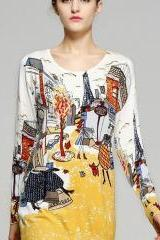 Colorful Print Long Sleeves T-Shirt