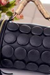 Tassel Embellished Black Leather Bag