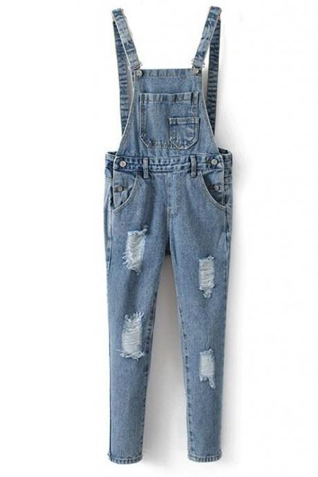 Washed Ripped Denim Overall Jeans