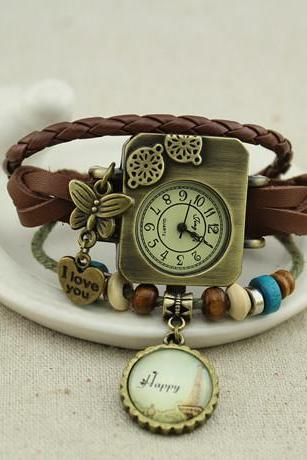 Vintage Handmade Bracelet watch custom name custom photo bracelet
