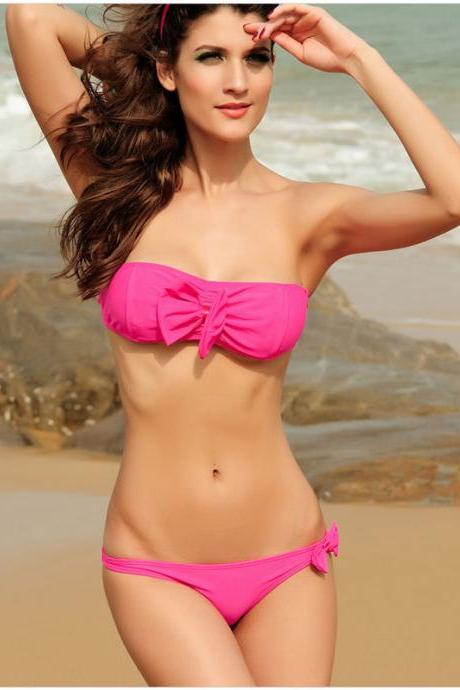 New Nice Decorative Pink Bow Bikini Swimsuit