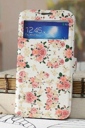 Samsung s4 Case For Girls Flower Printing PU Leather Samsung Galaxy s4 Cover, Samsung s4 phone cover, samsung galaxy s4 Floral case
