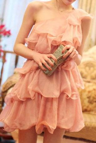 [grzxy6601603]Bridesmaid Layered One Shoulder Pink Ruffled Mini Dress