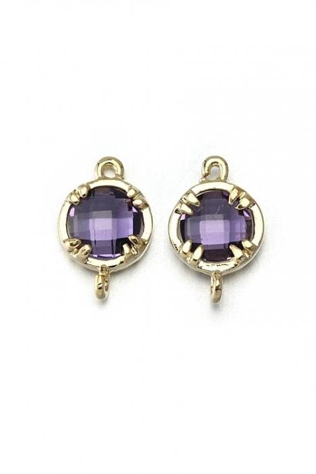 Amethyst Glass Connector. 16K Polished Gold Plated / 2 Pcs - CG009-PG-AM