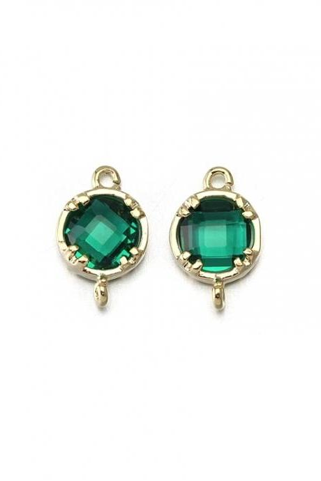 Emerald Glass Connector. 16K Polished Gold Plated / 2 Pcs - CG009-PG-EM