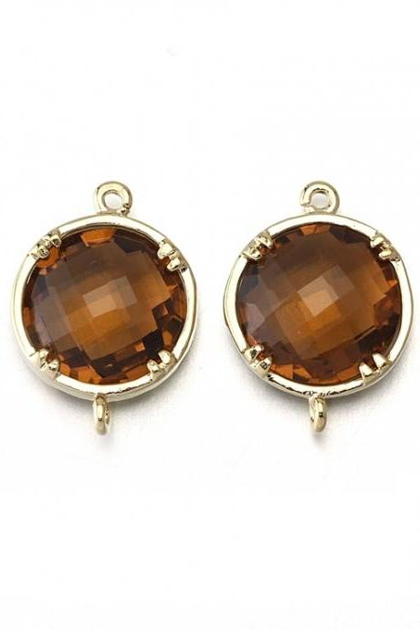 Smoky Topaz Glass Connector. 16K Polished Gold Plated / 2 Pcs - CG011-PG-ST