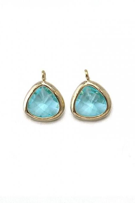 Aquamarine Glass Pendant . 16K Polished Gold Plated / 2 Pcs - CG012-PG-AQ