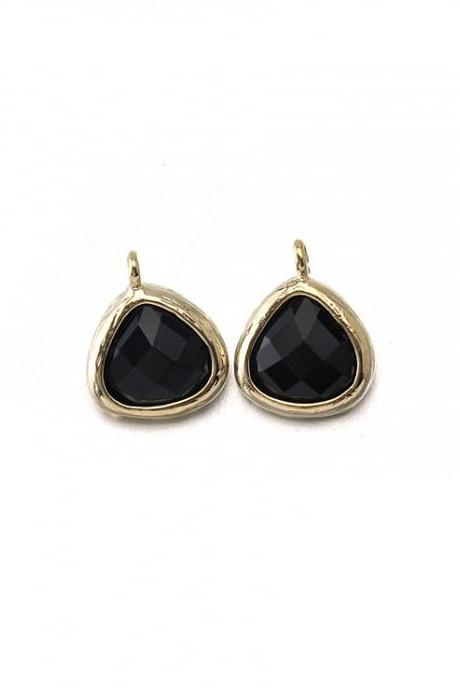 Onyx Glass Pendant . 16K Polished Gold Plated / 2 Pcs - CG012-PG-ON