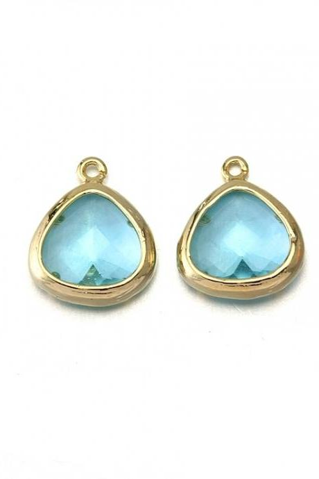 Aquamarine Glass Pendant . 16K Polished Gold Plated / 2 Pcs - CG013-PG-AQ