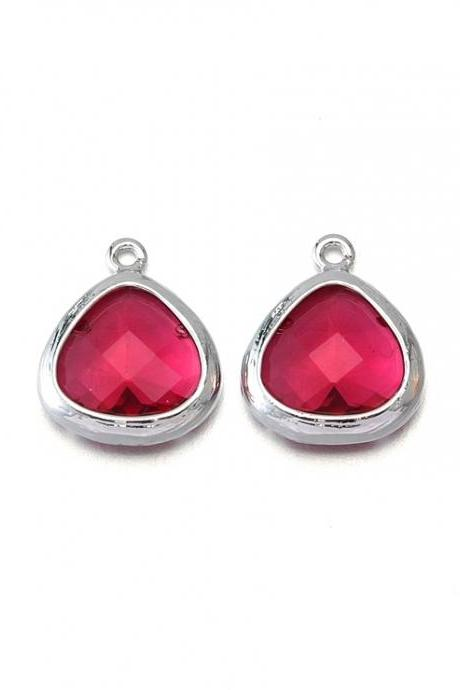 Fuchsia Glass Pendant . Polished Original Rhodium Plated / 2 Pcs - CG013-PR-FC