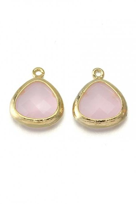 Ice Pink Glass Pendant . 16K Polished Gold Plated / 2 Pcs - CG013-PG-IP