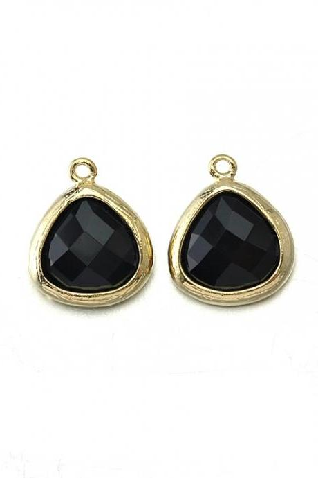Onyx Glass Pendant . 16K Polished Gold Plated / 2 Pcs - CG013-PG-ON