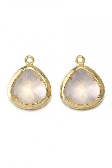 Champagne Glass Pendant . 16K Polished Gold Plated / 2 Pcs - CG013-PG-CH
