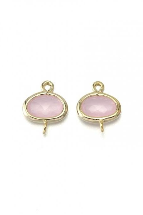 Ice Pink Glass Connector. 16K Polished Gold Plated / 2 Pcs - CG015-PG-IP
