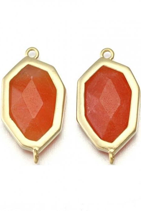 Orange Stone Connector. 16K Matte Gold Plated / 2 Pcs - CG017-MG-OR