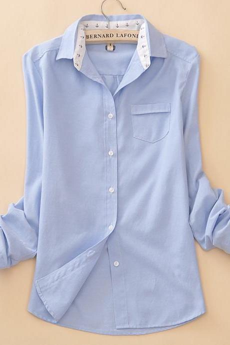 Concise fashion light blue long-sleeved shirt Ayk