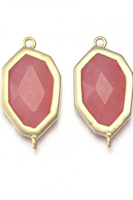 Pink Stone Connector. 16K Matte Gold Plated / 2 Pcs - CG017-MG-PK