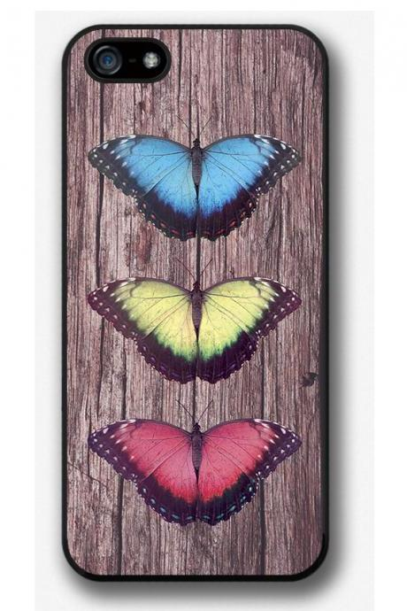iPhone 4 4S 5 5S 5C case, iPhone 4 4S 5 5S 5C cover, Butterflies on Wood