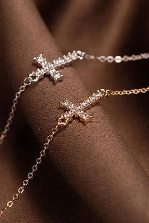 crystal-studded cross bracelet CHOOSE ONE gold / silver