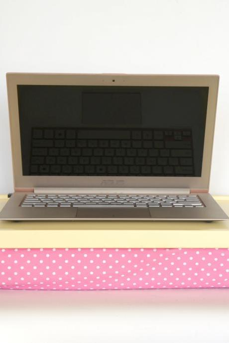 Breakfast Serving Lap Tray or Laptop Lap Desk, stand- Soft yellow with white on pink polka dots