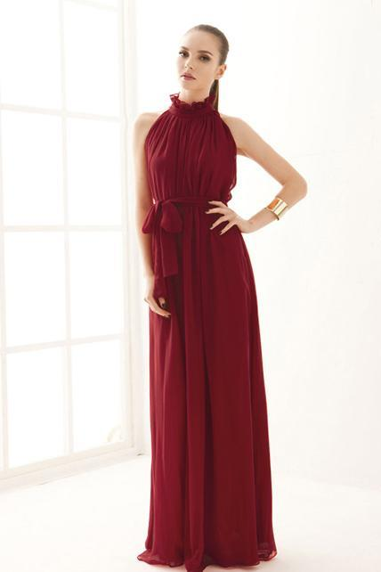 Traditional Mandarin Collar Pleated Chiffon Dress With Belt - Wine Red
