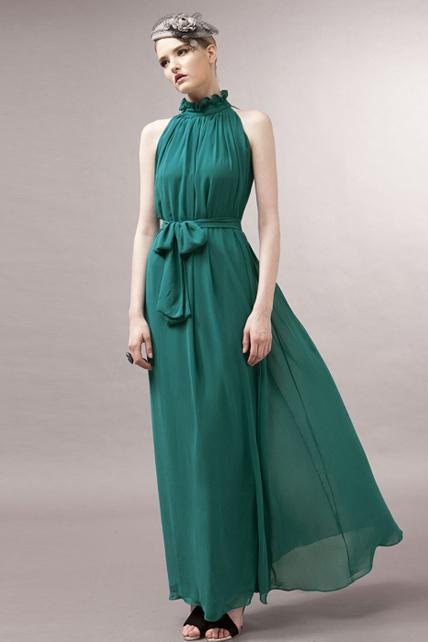 Traditional Mandarin Collar Pleated Chiffon Dress With Belt - Green