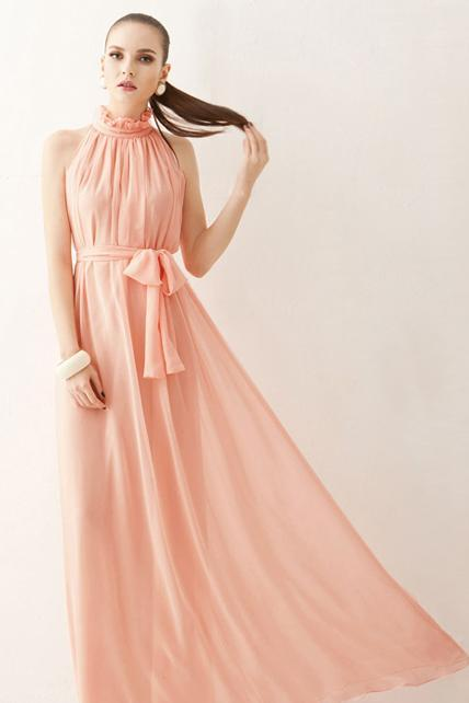 Traditional Mandarin Collar Pleated Chiffon Dress With Belt - Pink