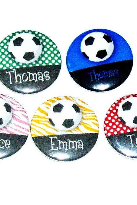 Pinback button badges - Soccer name badges- 3 sizes