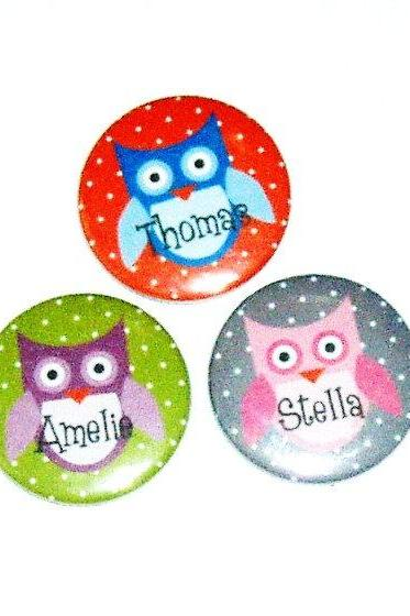 Pinback button badges - Owl name badges- 3 sizes