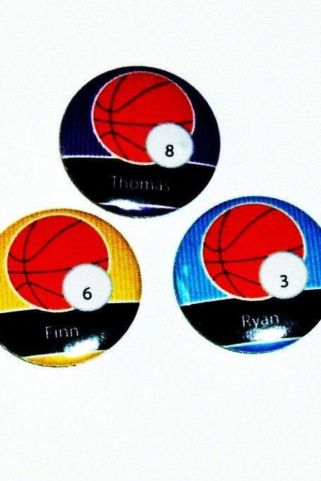 Pinback button badges - Basketball name badges - 3 sizes