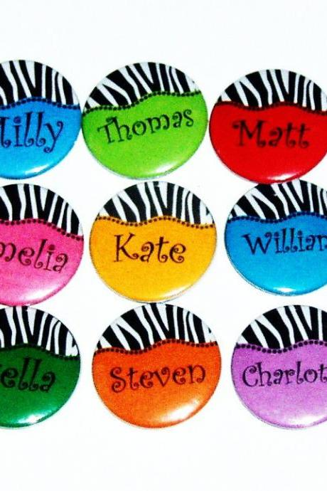 Pinback button badges - Zebra Stripe name badges - 3 sizes
