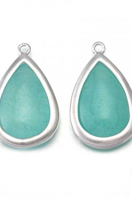 Amazonite Stone Pendant. Matte Original Rhodium Plated / 2 Pcs - CG018-MR-AZ