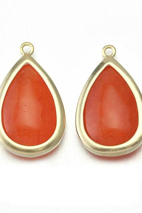 Orange Stone Pendant. 16K Matte Gold Plated / 2 Pcs - CG018-MG-OR