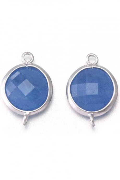 Blue Agate Stone Connector . Matte Original Rhodium Plated / 2 Pcs - CG019-MR-BA
