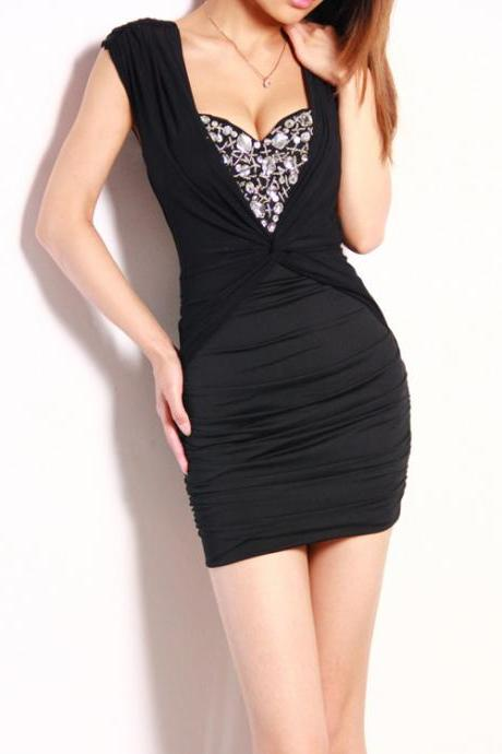 Sexy diamond with a chest pad dew backpack hip strap dress stitching thin pencil skirt