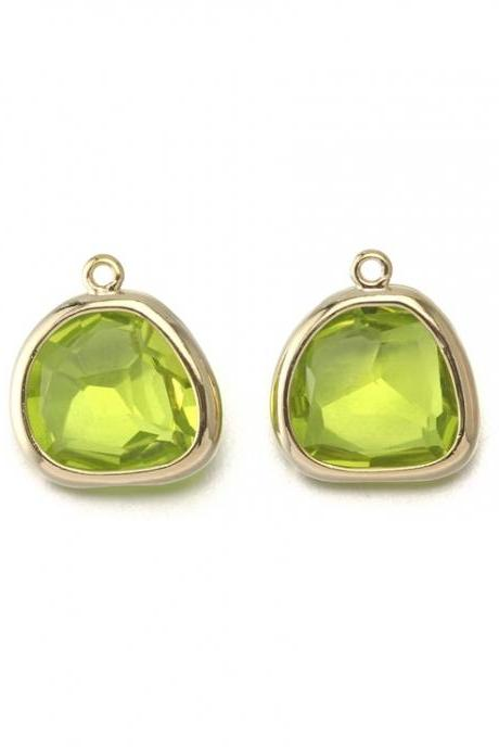 Apple Green Glass Pendant . 16K Polished Gold Plated / 2 Pcs - CG020-PG-AG