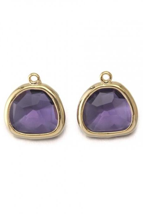 Amethyst Glass Pendant . 16K Polished Gold Plated / 2 Pcs - CG020-PG-AM